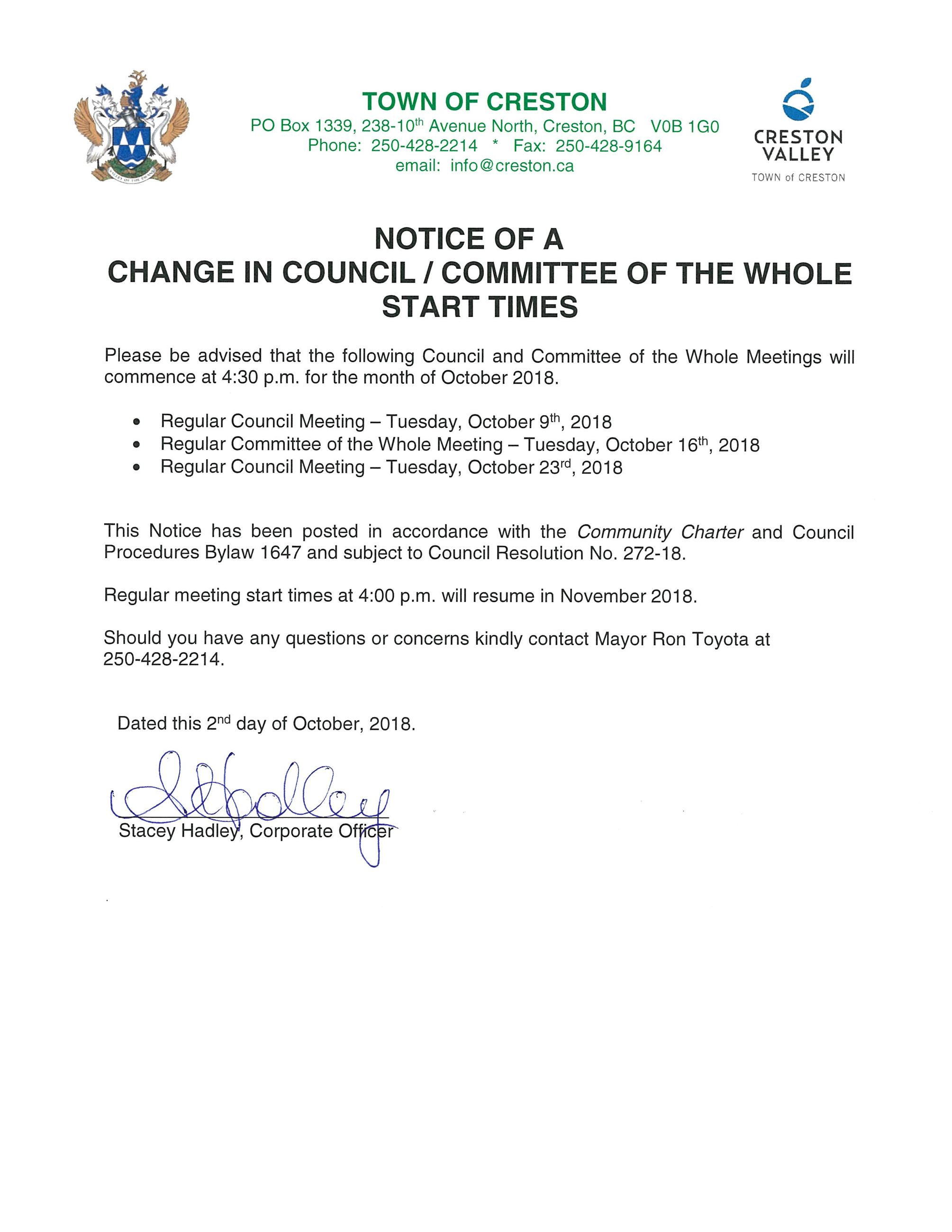 Notice - Meeting Start Time